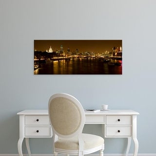 Easy Art Prints Panoramic Image 'View of Thames River from Waterloo Bridge at night, London, England' Canvas Art