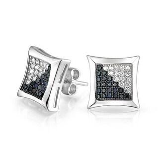 Bling Jewelry Kite Shaped Black White Unisex CZ Stud earrings 925 Sterling Silver Silver 10mm