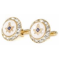 Mother Of Pearl Crystal Gold Masonic Cufflinks