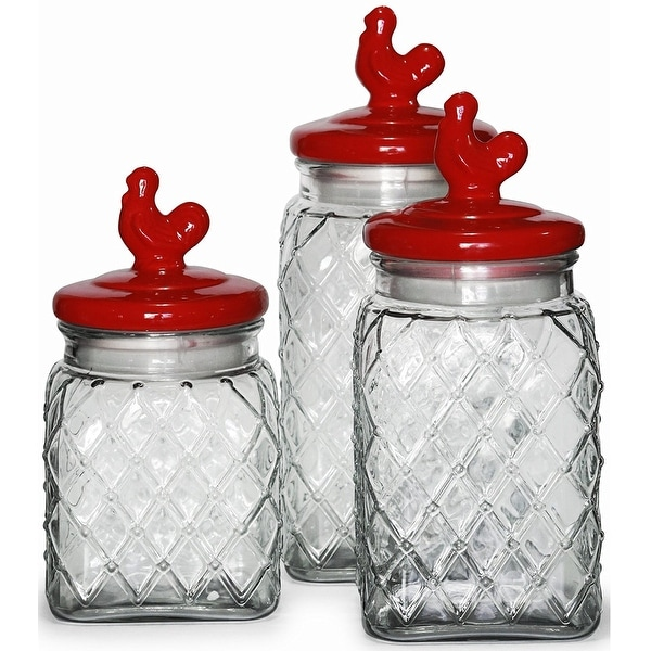 Circleware Red Pullet 3 Piece Preserving Glass Canister Food Jar Set With  Ceramic Rooster Lid Handle