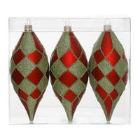"Pack of 3 Matte Red and Lime Green Glitter Diamond Christmas Teardrop Ornaments 4.75"" (121mm)"