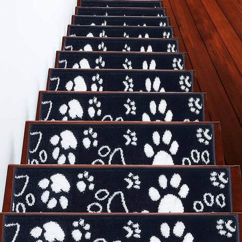 """SUSSEXHOME Paw Collection Stair Treads Polypropylene 9""""x28"""""""