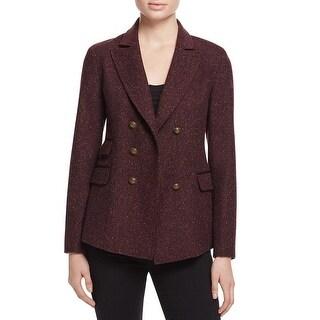 Rebecca Minkoff Womens Nevin Double-Breasted Blazer Wool Blend Purple 2