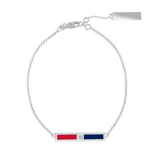 University of Mississippi Sterling Silver Diamond Bar Chain Bracelet in Red & Blue