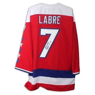 "Yvon Labre Washington Capitals Autographed Red Jersey Inscribed ""Captain 76-78"""