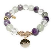 """Purple Amethyst Mix Peace Disc Gold Charm Paris 7"""" Bracelet"""