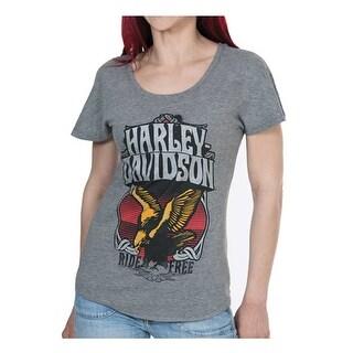 Harley-Davidson Women's Stone Free Metallic Short Sleeve Dolman Tee, Gray