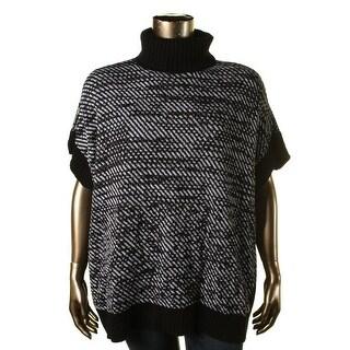 MICHAEL Michael Kors Womens Plus Two Tone Turtleneck Poncho Sweater