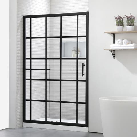 """FELYL 48"""" W × 72"""" H Single Sliding Framed Shower Door with Heat Soaking Process and Protective Coating Clear Glass"""