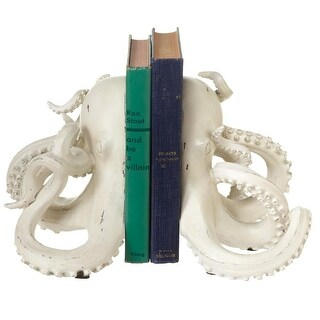 """19.87"""" White Distressed Finish Decorative Octopus Shaped Bookend Pair"""