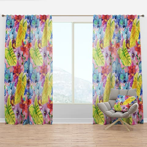 Designart 'Tropical Yellow Leaves and Blue and Red Flowers' Floral Curtain Panel