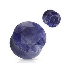 Sodalite Faceted Gem Cut Semi Precious Stone Double Flared Plug (Sold Individually)