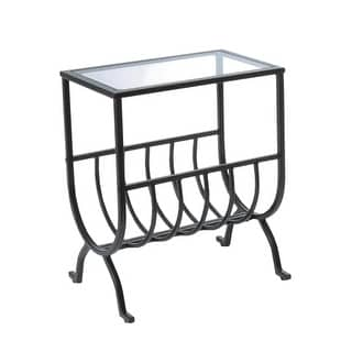 Monarch Specialties Side table with magazine rack III Magazine Side Table with Tempered Glass Surface