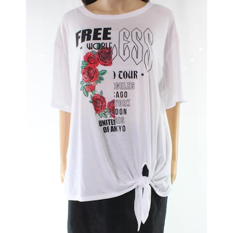 H.I.P. Women's Medium Side Tie Rose Graphic Tee Shirt $39
