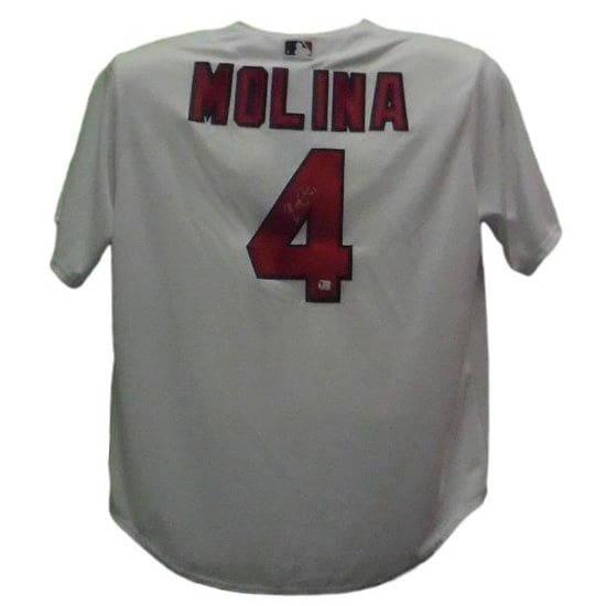 aa414f63316 Shop Yadier Molina Autographed St Louis Cardinals Majestic White Replica  Jersey - Free Shipping Today - Overstock - 18086733
