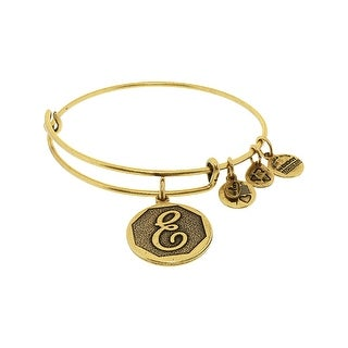 "Alex And Ani Women's E Initial Bracelet Bangle - 7"" - Gold"