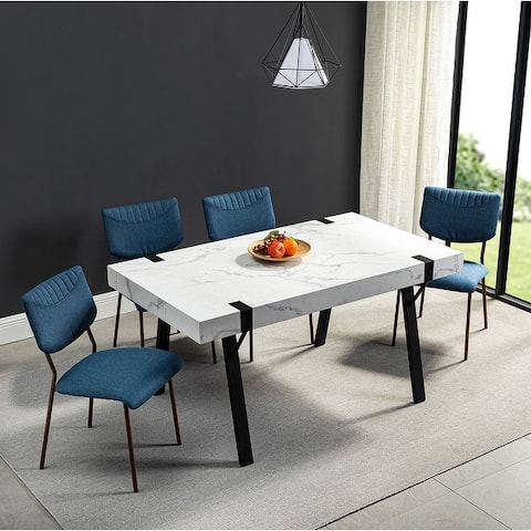 Krapina Rectangle Dining Table with Black Metal Legs