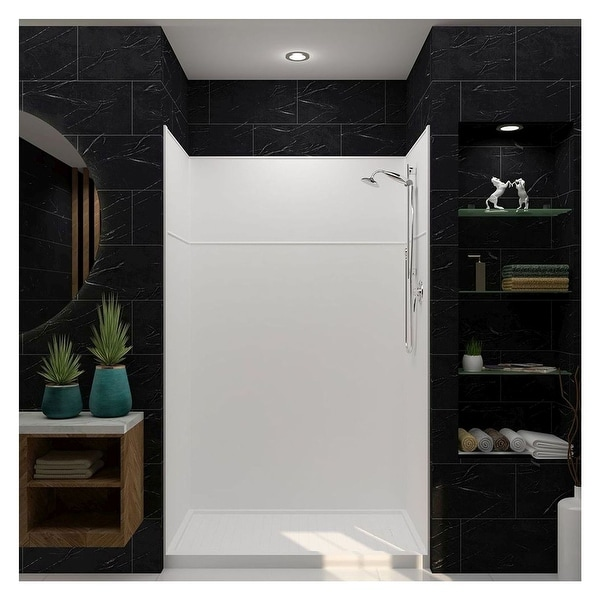 """Transolid Studio 60-in x 96-in Alcove Shower Kit with Extension - 60"""" x 30"""" x 96"""" - 60"""" x 30"""" x 96"""". Opens flyout."""