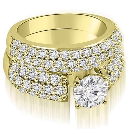 3.30 cttw. 14K Yellow Gold Three Row Round Cut Diamond Bridal Set
