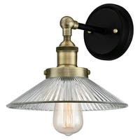"""Westinghouse 6335900 LEXINGTON Single Light 9-7/16"""" Tall Wall Sconce with Clear - antique brass/matte black"""