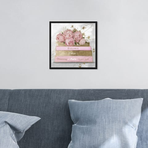 Oliver Gal 'Floral Fashion Books' Glam Pink Wall Art Canvas Print
