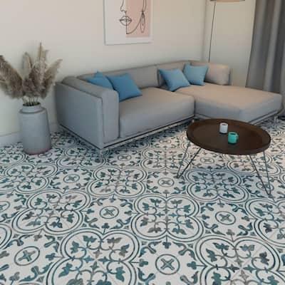 "SomerTile Cassis Arte Blue 9.75"" x 9.75"" Porcelain Floor and Wall Tile"