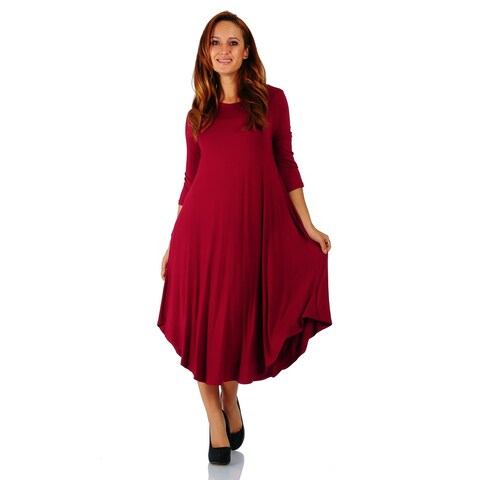Simply Ravishing 3/4 Sleeve Rounded Hem Mid-Length Maxi Dress (Size: S-5X)