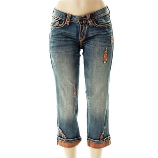 Cowgirl Tuff Western Capri Womens Summer Sun Medium Wash JSUMSC