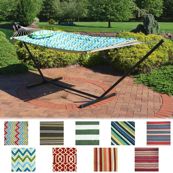 Sunnydaze Rope Hammock with Stand Pad & Pillow - Portable - Choose Color