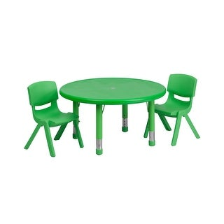Offex 33'' Round Adjustable Green Plastic Activity Table Set with 2 School Stack Chairs