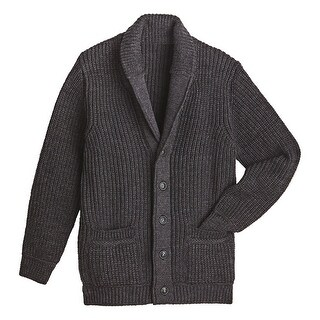 West End Knitwear Men's Merino Wool Sweater - Ribbed Knit Shawl Collar Cardigan