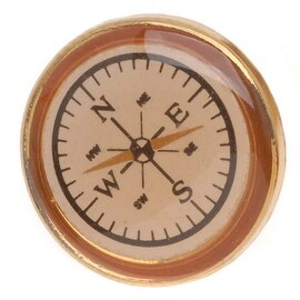 Gold Toned Plastic Round Compass Button 20.5mm (1)