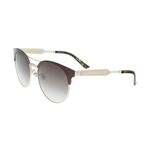 5a7da83d0 Shop Gucci GG0075S 004 Burgundy/Gold Round Sunglasses - 56-18-145 ...