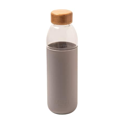 """My Life Handmade Glass Water Bottle Flask with Bamboo Lid - 8 5/8"""" x 2 3/8"""""""