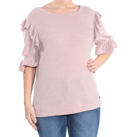 WILLIAM RAST Womens Pink Ruffled Cut Out Sleeve Short Sleeve Jewel Neck Sweater Size: L