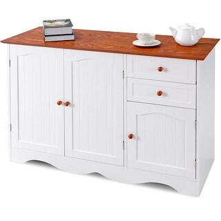 Gymax Buffet Storage Cabinet Console Table Kitchen Sideboardd Home Furni W/2 Drawers - as pic