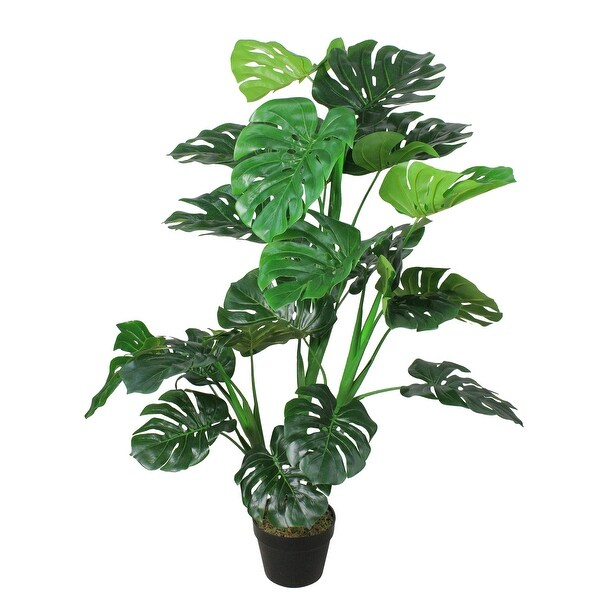"50"" Potted Green and Black Artificial Monstera Plant - N/A"