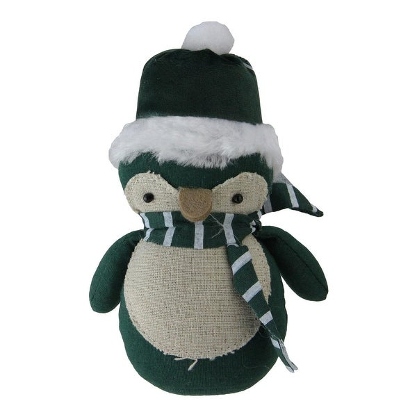 """6"""" Green and Neutral Penguin Wearing a Scarf Tabletop Decoration - brown"""