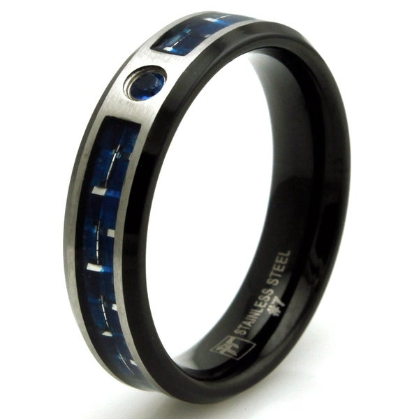 Black Stainless Steel Blue CZ Ring with Blue and Silver Carbon Fiber Inlay