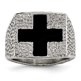 Chisel Stainless Steel Textured Black Enameled Cross Ring (18 mm)