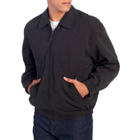 London Fog Mens Jacket Black Size Large L Zip-Front Golf Microfiber