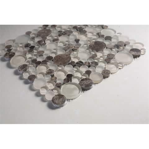 TileGen. Circle Random Sized Mosaic Tile in Brown/Beige Wall Tile (10 sheets/9sqft.)