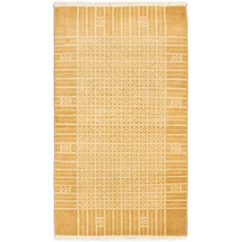ECARPETGALLERY Hand-knotted Peshawar Ziegler Brown Wool Rug - 3'1 x 5'4