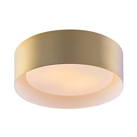 Archiology 2-Light Flush Mount Ceiling Light With Opaline Glass Shade