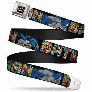 Batman Full Color Black Yellow Batman Action Poses Black Blue Multi Logos Seatbelt Belt