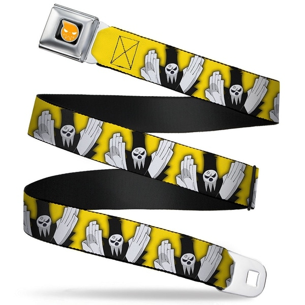Soul Eater Logo Full Color Black Orange Death Shinigami Chop Yellow Black Seatbelt Belt
