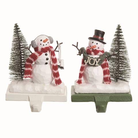 Transpac Resin Multicolor Christmas Snowman Stocking Holder Set of 2