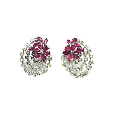925 Sterling Silver Genuine Ruby & Diamond Baguette Stud Earring
