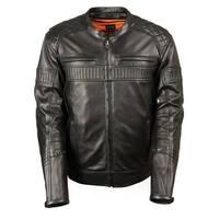 Mens Vented Black Leather Scooter Jacket
