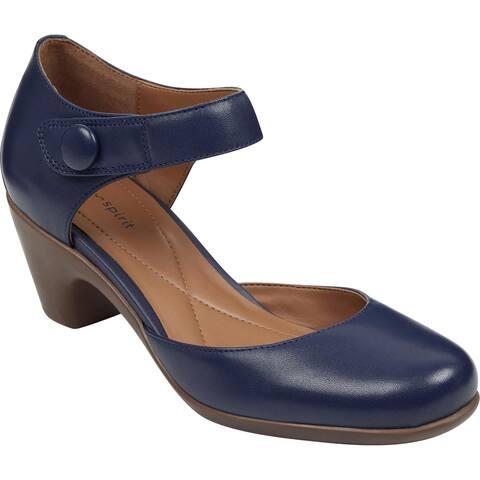 Easy Spirit Womens Clarice Mary Jane Heels Cushioned Footbed Block Heel